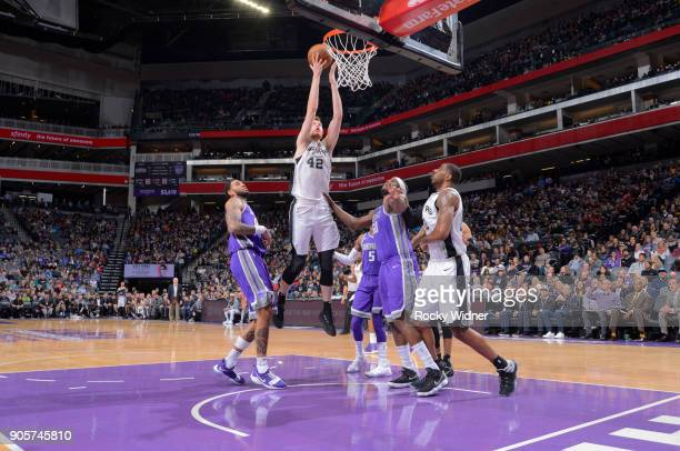 Davis Bertans of the San Antonio Spurs goes up for the shot against the Sacramento Kings on January 8 2018 at Golden 1 Center in Sacramento...