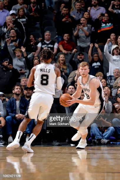 Davis Bertans of the San Antonio Spurs handles the ball against the Minnesota Timberwolves during a game on October 17 2018 at the ATT Center in San...