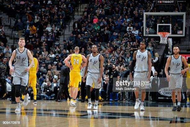 Davis Bertans of the San Antonio Spurs Kawhi Leonard of the San Antonio Spurs LaMarcus Aldridge of the San Antonio Spurs and Kyle Anderson of the San...