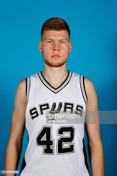 Davis Bertans of the San Antonio Spurs poses for a headshot during the 20162017 San Antonio Spurs Media Day at the Spurs Training Facility on...