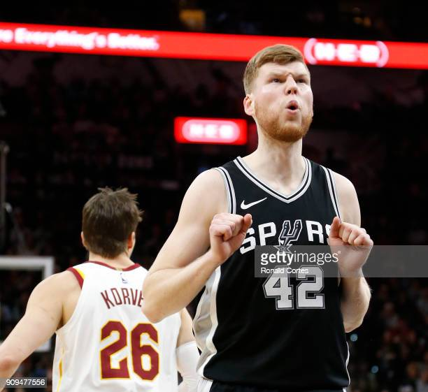 Davis Bertans of the San Antonio Spurs reacts after a turnover against the Cleveland Cavaliers at ATT Center on January 23 2018 in San Antonio Texas...