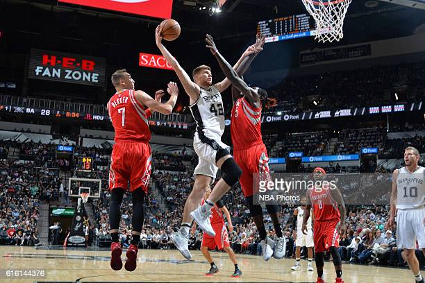 Davis Bertans of the San Antonio Spurs shoots the ball against the Houston Rockets on October 21 2016 at the ATT Center in San Antonio Texas NOTE TO...