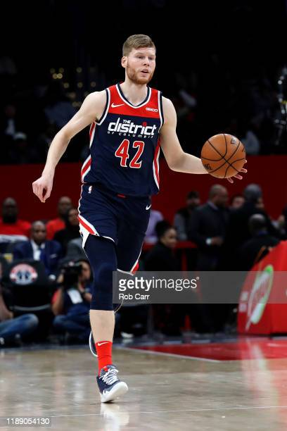 Davis Bertans of the Washington Wizards dribbles the ball against the San Antonio Spurs at Capital One Arena on November 20 2019 in Washington DC...