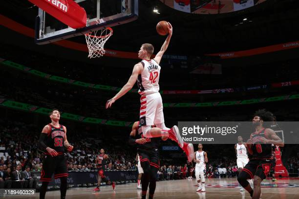 Davis Bertans of the Washington Wizards drives to the basket during the game against the Chicago Bulls on December 18 2019 at Capital One Arena in...