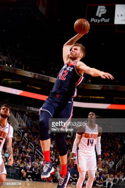 Davis Bertans of the Washington Wizards dunks the ball against the Phoenix Suns on November 27 2019 at Talking Stick Resort Arena in Phoenix Arizona...
