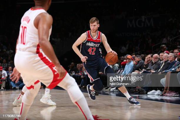 Davis Bertans of the Washington Wizards handles the ball against the Houston Rockets on October 30 2019 at Capital One Arena in Washington DC NOTE TO...