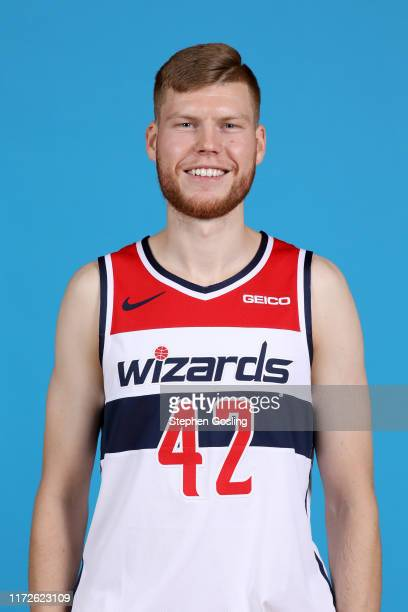 Davis Bertans of the Washington Wizards poses for a head shot during media day on September 30 2019 at the Washington Wizards Practice Facility in...