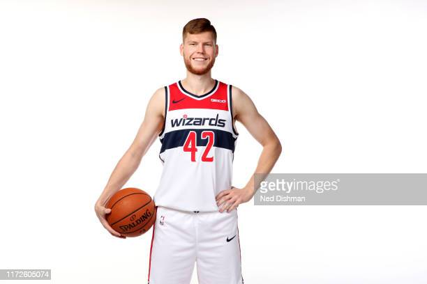 Davis Bertans of the Washington Wizards poses for a portrait during the 2019 NBA Rookie Photo Shoot at the Washington Wizards Practice Facility on...