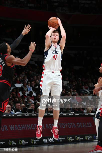 Davis Bertans of the Washington Wizards shoots a three point basket during the game against the Chicago Bulls on December 18 2019 at Capital One...