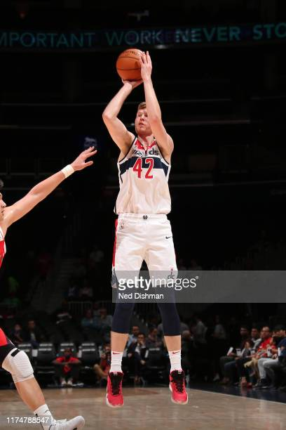 Davis Bertans of the Washington Wizards shoots the ball against the the Guangzhou Long Lions during a preseason game on October 9 2019 at Capital One...