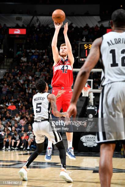 Davis Bertans of the Washington Wizards shoots the ball against the San Antonio Spurs on October 26 2019 at the ATT Center in San Antonio Texas NOTE...