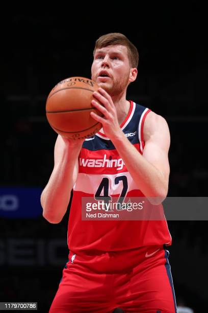 Davis Bertans of the Washington Wizards shoots the ball against the Minnesota Timberwolves on November 2 2019 at Capital One Arena in Washington DC...