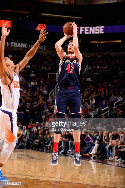 Davis Bertans of the Washington Wizards shoots the ball against the Phoenix Suns on November 27 2019 at Talking Stick Resort Arena in Phoenix Arizona...