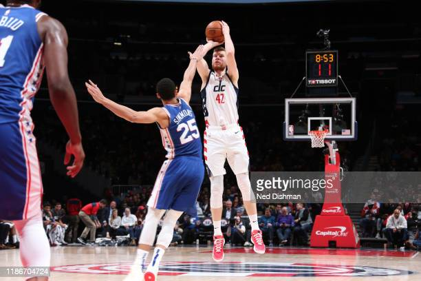 Davis Bertans of the Washington Wizards shoots the ball against the Philadelphia 76ers on December 5 2019 at Capital One Arena in Washington DC NOTE...