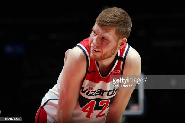Davis Bertans of the Washington Wizards smiles during the game against the Atlanta Hawks on January 10 2020 at Capital One Arena in Washington DC...