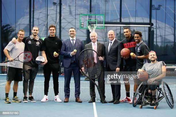 Davis Cup captain Leighton Hewitt poses for a photo with Chris Goulding Thanasi Kokkinakis NBL Chief Executive Jeremy Loeliger Australian Open...