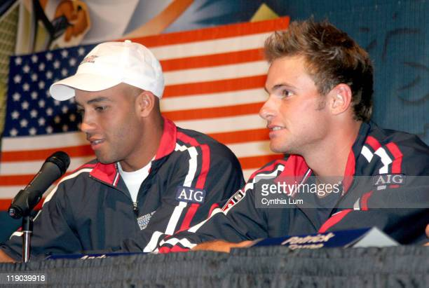 US Davis Cup team members James Blake and Andy Roddick at the USTA Draw Ceremony for the Davis Cup by BNP Paribas first round between the US and...