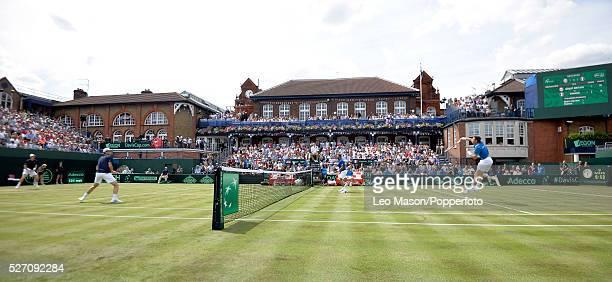 Davis Cup tie Great Britain v France at Queens Club London UK Doubles Andy Jamie Murray GBR v Joe Wilfred Tsonga Nicholas Mahut FRA