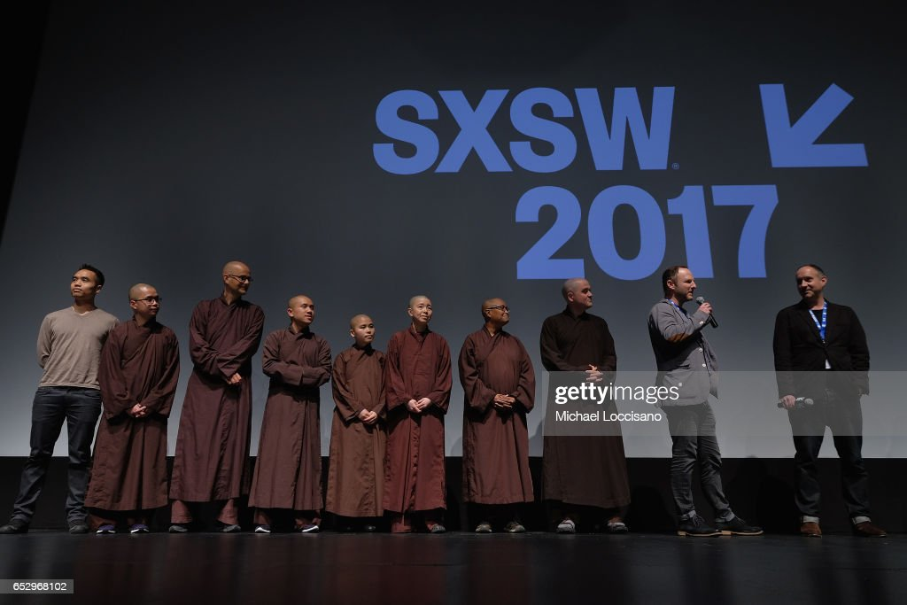 Davis, Film subjects Phap Trien, Phap Ho, Phap Huu, Sister Brightness, Sister Thanh Y, Sister Peace, and Phap Linh, and Co-Directors Marc Francis and Max Pugh take part in the 'Walk With Me' premiere during 2017 SXSW Conference and Festivals at the ZACH Theatre on March 12, 2017 in Austin, Texas.