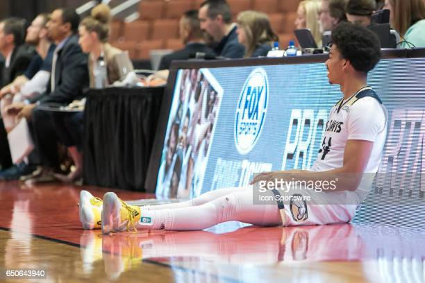 Davis Forward Garrison Goode waits to substitute in during a Big West Conference Quarterfinals game between UC Davis and Cal Poly on March 9 2017 at...