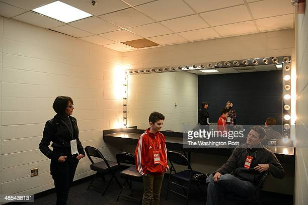 Davis Gestiehr 12 second from left his sister Madison reflected in the mirror his father Chip and mother Debby Gestiehr left wait in the green room...