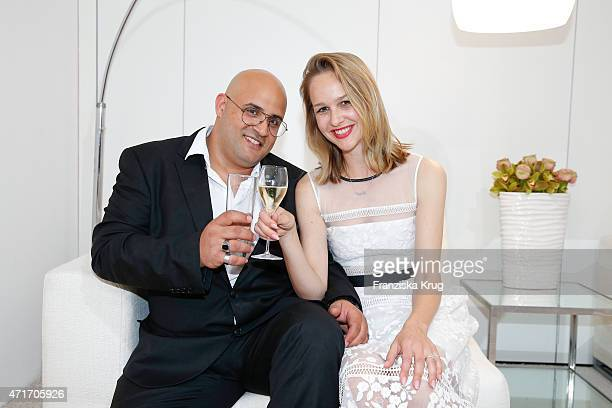 Davis Hason and Esther Seibt attend the Hubert le Gall Vernissage At Ruinart PopUp Gallery on April 30 2015 in Berlin Germany