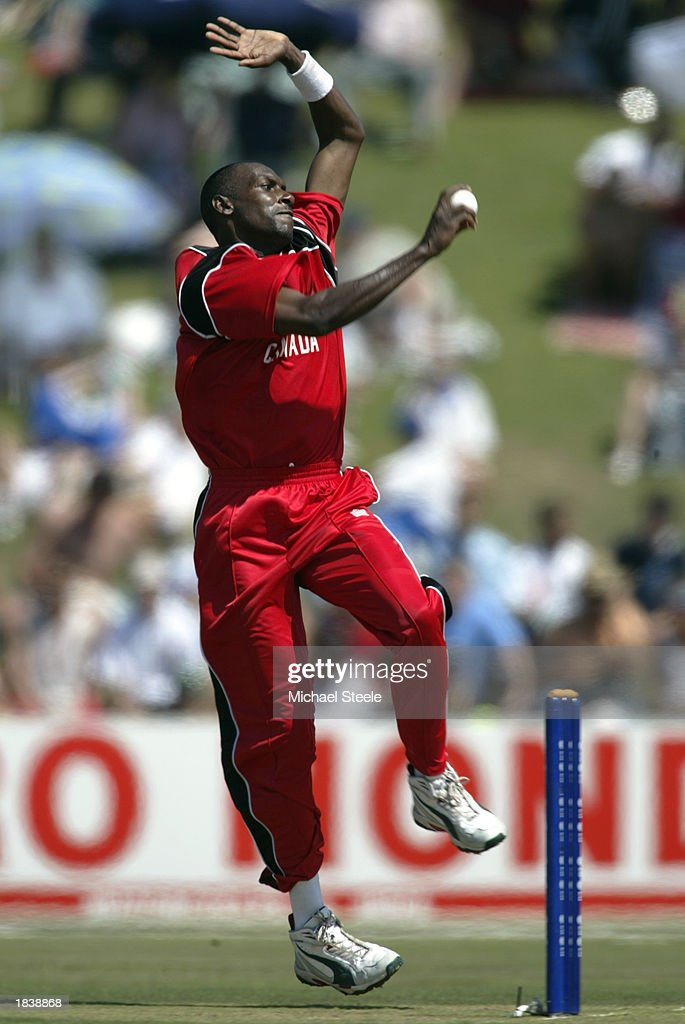 Davis Joseph of Canada bowling during the ICC Cricket World Cup Pool B match between South Africa and Canada held on February 27, 2003 at Buffalo Park in East London, South Africa. South Africa won the match by 118 runs.