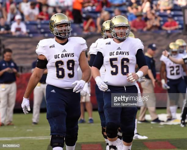 Davis Julian Bertero ad UC Davis Will Martin during the college football game between UC Davis Aggies and San Diego State University Aztecs on...