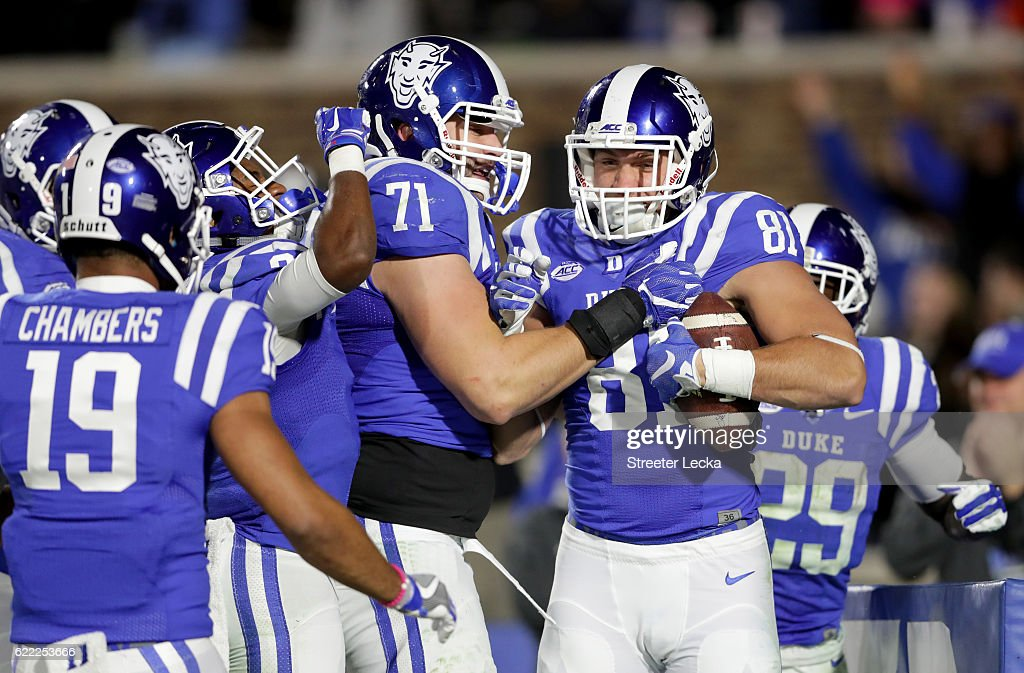 Davis Koppenhaver #81 of the Duke Blue Devils reacts after a touchdown against the North Carolina Tar Heels during their game at Wallace Wade Stadium on November 10, 2016 in Durham, North Carolina.