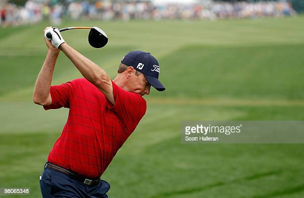 Davis Love III hits a shot on the 18th tee during the second round of the Arnold Palmer Invitational presented by MasterCard at the Bayhill Club and...