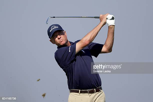 Davis Love III of the United States plays his tee shot on the 7th hole during the second round of the RSM Classic at Sea Island Resort Seaside Course...