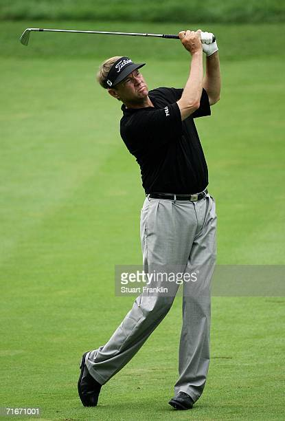 Davis Love III plays an approach shot on the 12th hole during the second round of the 2006 PGA Championship at Medinah Country Club on August 18 2006...