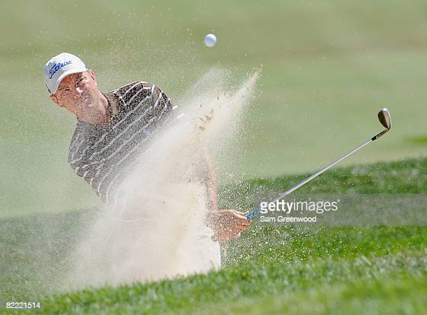 Davis Love III plays out of a bunker on the sixth hole during round two of the 90th PGA Championship at Oakland Hills Country Club on August 8 2008...