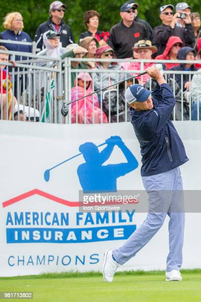 Davis Love III tees off on the first tee during the American Family Insurance Championship Champions Tour golf tournament on June 22 2018 at...