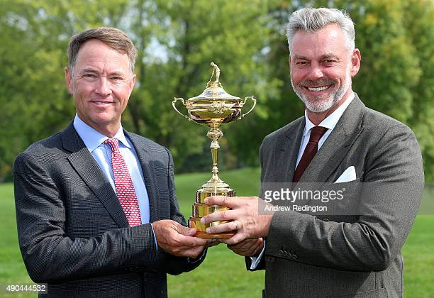 Davis Love III US Ryder Cup Captain and Darren Clarke European Ryder Cup Captain pose with the trophy during the 2016 Ryder Cup Captains' Photoshoot...