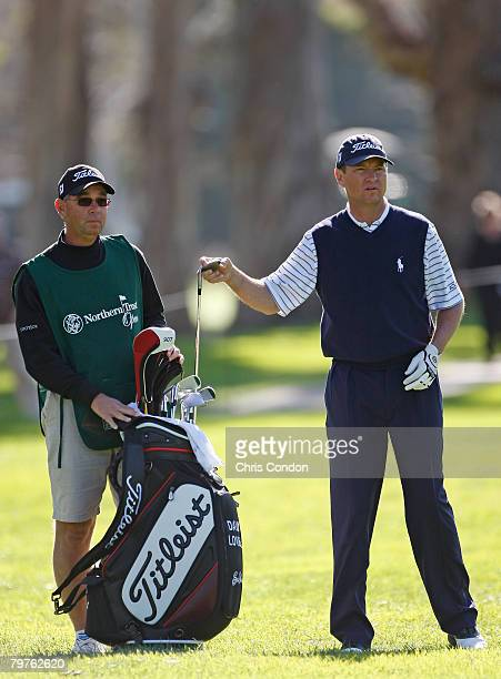 Davis Love III with caddie Mike Hulbert on the 17th hole during the first round of the Northern Trust Open held on February 14 2008 at Riviera...