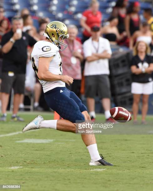 Davis Matt Blair punts during the college football game between UC Davis Aggies and San Diego State University Aztecs on September 02 2017 at...