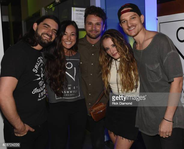 Davis Naish CoFounder Ally Venable Joel Crouse Emily Hackett and Mikey Reeves attend The Other Nashville Society Launch Party on July 27 2017 in...