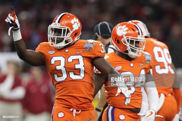 D Davis of the Clemson Tigers reacts during the first quarter of the AllState Sugar Bowl against the Alabama Crimson Tide at the MercedesBenz...