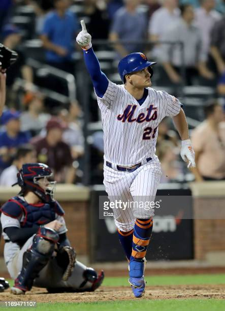 Davis of the New York Mets celebrates his walk off single in the 10th inning against the Cleveland Indians at Citi Field on August 21, 2019 in the...