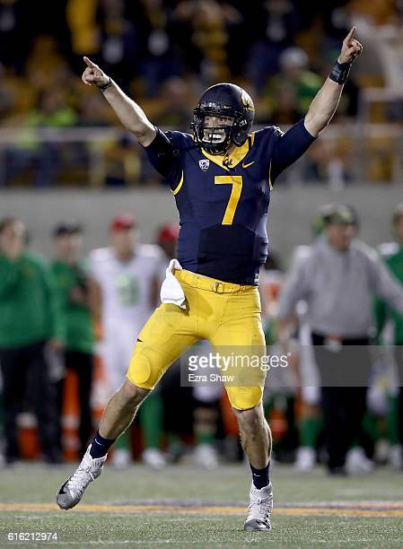 Davis Webb of the California Golden Bears celebrates after the Bears converted a twopoint conversion against the Oregon Ducks at California Memorial...