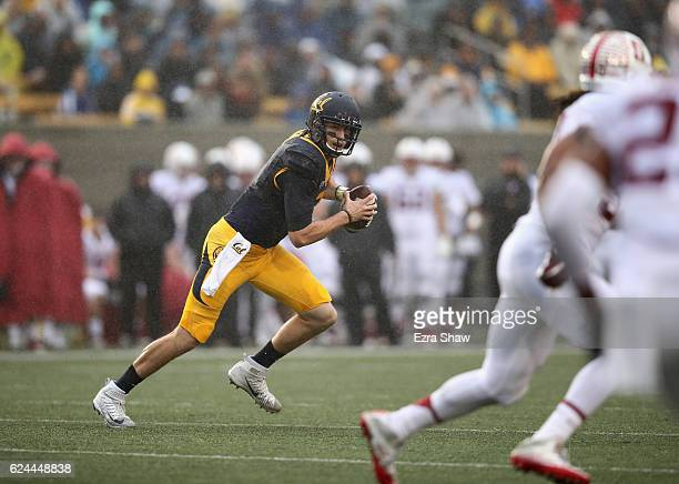 Davis Webb of the California Golden Bears looks to pass the ball against the Stanford Cardinal at California Memorial Stadium on November 19 2016 in...