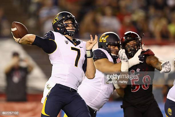 Davis Webb of the California Golden Bears passes during the first quarter of a game against the San Diego State Aztecs at Qualcomm Stadium on...