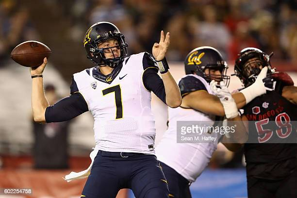 Davis Webb of the California Golden Bears passes the ball during the first quarter against the San Diego State Aztecs at Qualcomm Stadium on...