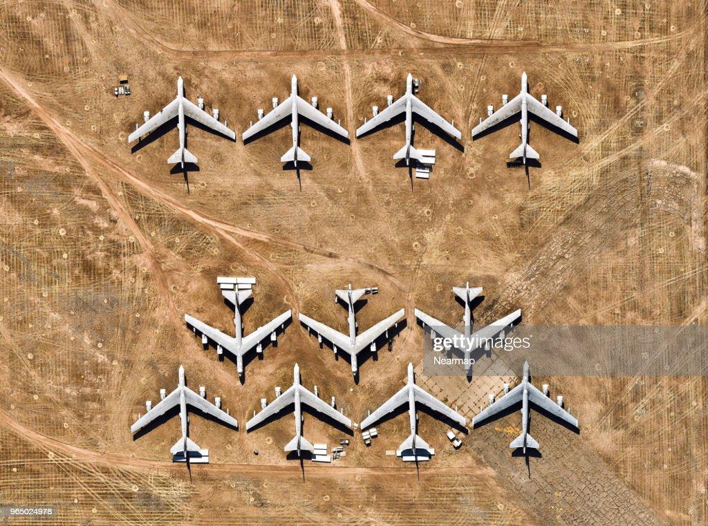 Davis-Monthan AFB, Tucson, AZ, largest aircraft boneyard in the world : Stock Photo