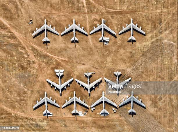 davis-monthan afb, tucson, az, largest aircraft boneyard in the world - us army urban warfare stock photos and pictures