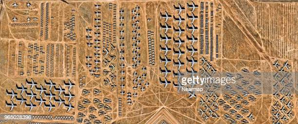 davis-monthan afb, tucson, az, largest aircraft boneyard in the world - tucson stock pictures, royalty-free photos & images