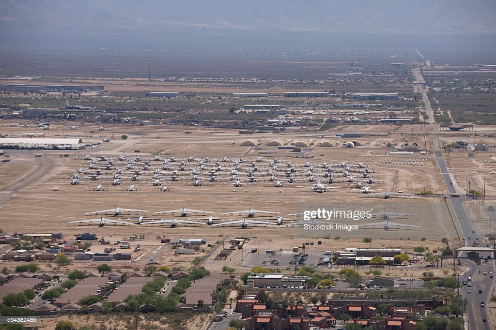 Davis-Monthan Air Force Base airplane boneyard in Arizona. : Stock Photo