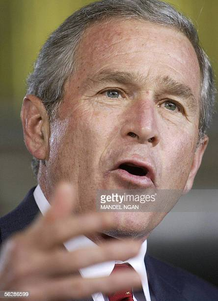 Davis-Monthan Air Force Base, UNITED STATES: US President George W. Bush speaks after attending a briefing with Customs and Border Protection...