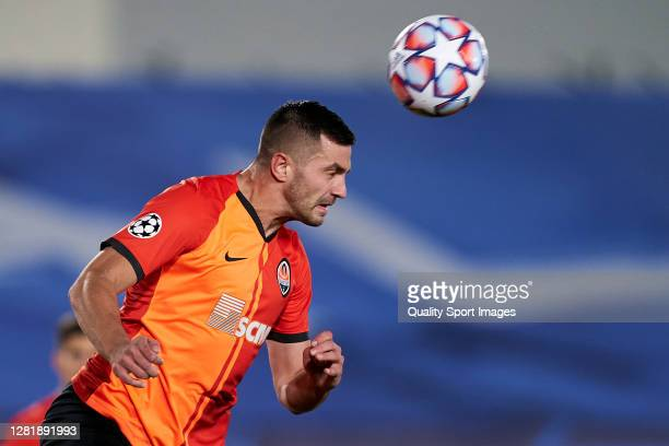 Davit Khocholava of Shakhtar Donetsk heading a ball during the UEFA Champions League Group B stage match between Real Madrid and Shakhtar Donetsk at...